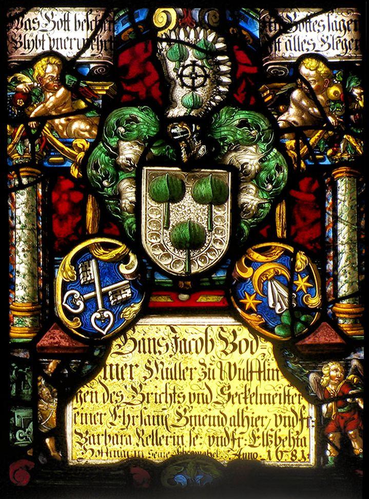 Heraldic window in the church at Wülflingen, Zürich, Switzerland