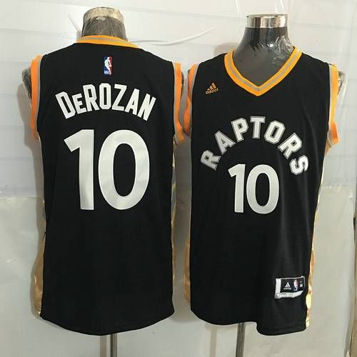 new product e4291 de336 Men's Toronto Raptors #10 DeMar DeRozan Black With Gold New ...