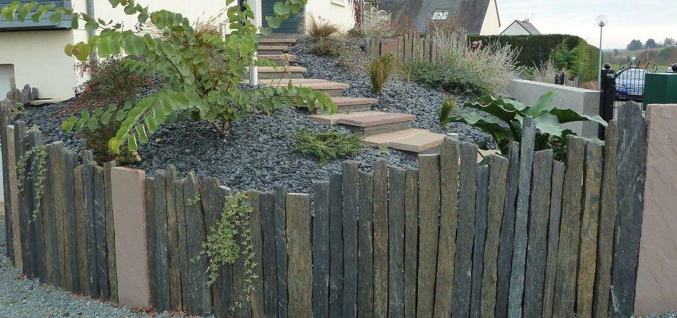 Retenue terre pieux de schiste terrasse gabion pinterest schiste terre et r utiliser - Cloture jardin angers ...