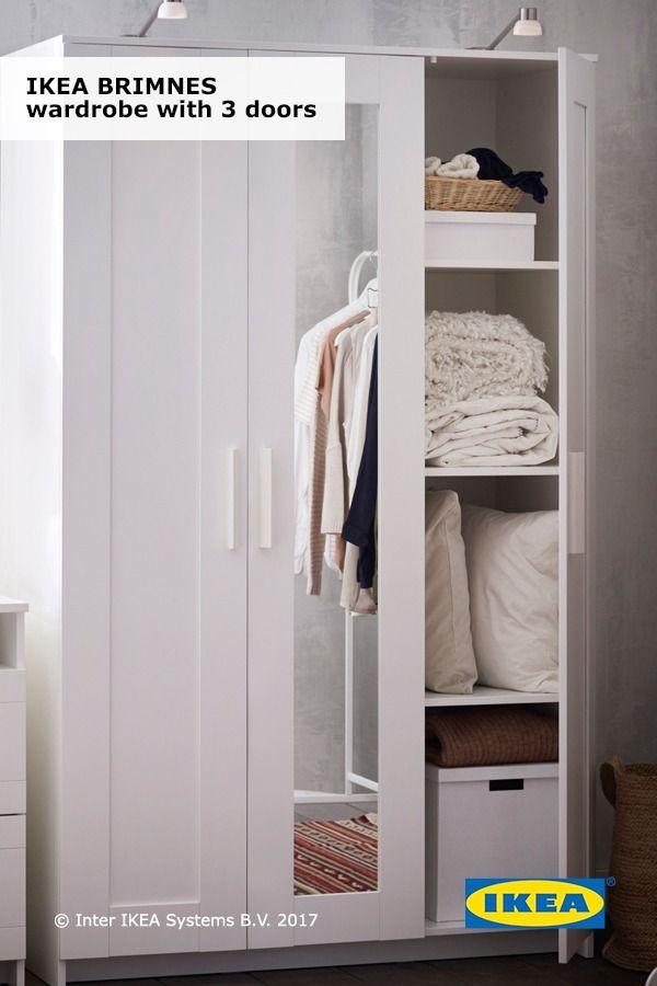 The mirrored door on the IKEA BRIMNES wardrobe with 3 doors saves ...