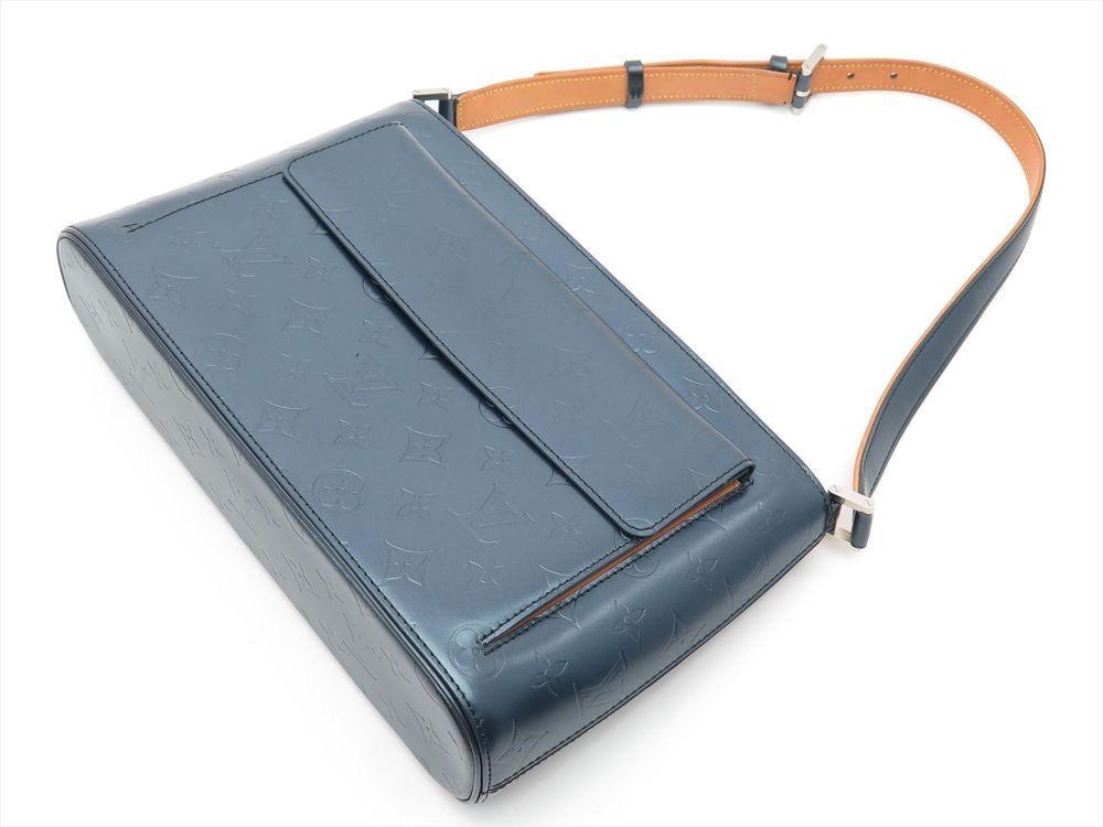 Louis Vuitton Auth Monogram MAT Leather Blue Allston Short strap Shoulder Bag LV #LouisVuitton #ShoulderBag