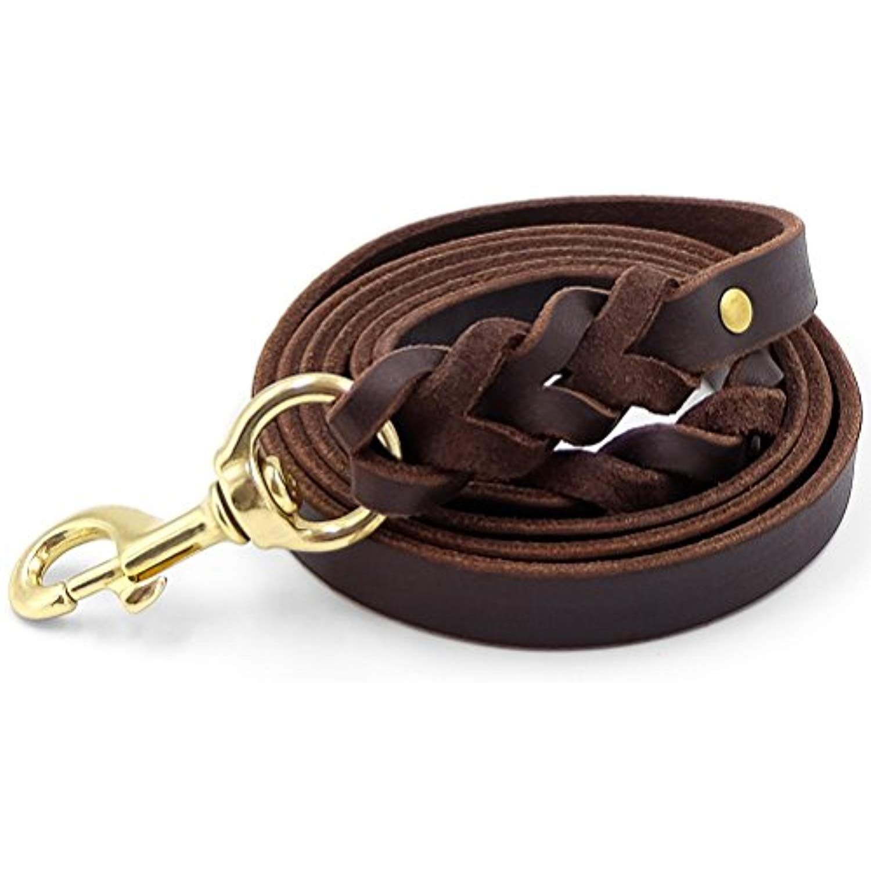 Faylife Leather Dog Leash 6 Ft Braided Heavy Duty Training Leash