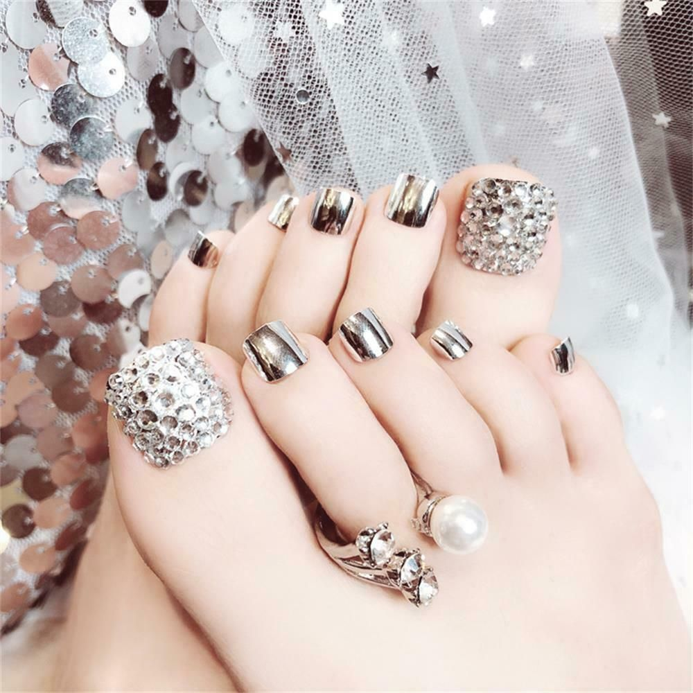 Beauty Diy False Nails With Glue Fake Toes Nails French Style Foot Rhinestone Acrylics Classy Natural Smokey Eye E Cute Toe Nails Bling Nails Toe Nails