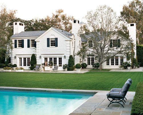 White Brick Black Shutters White Brick Houses Dream House