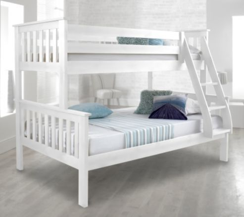 Best Happy Beds Atlantis 4Ft White Wooden Triple Sleeper Bunk 400 x 300