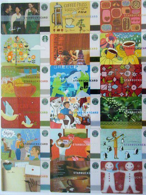 A Collage Of Starbucks Gift Cards Starbucks Gift Card Starbucks Art Starbucks