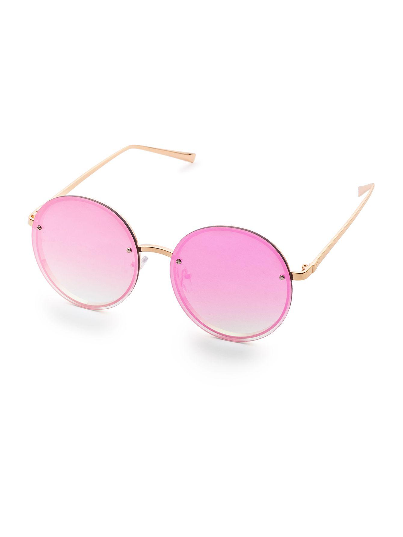 8a5bcb41d9 Gafas de sol con marco dorado y lentes redondos violeta-Spanish  SheIn(Sheinside)