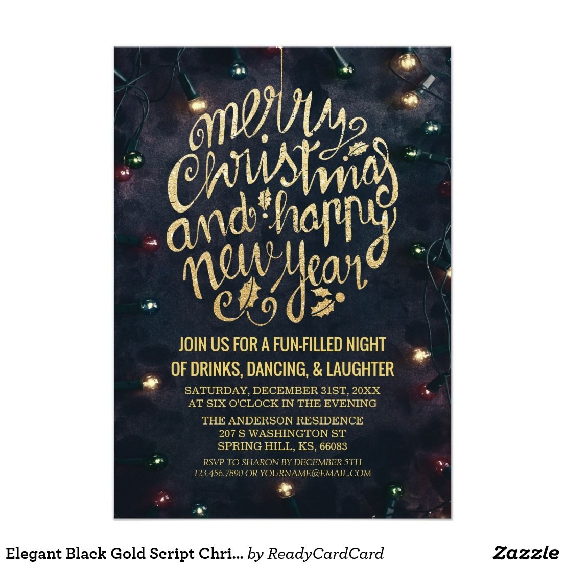 elegant black gold script christmas new year party invitation elegant black and gold cheers new years eve party card template