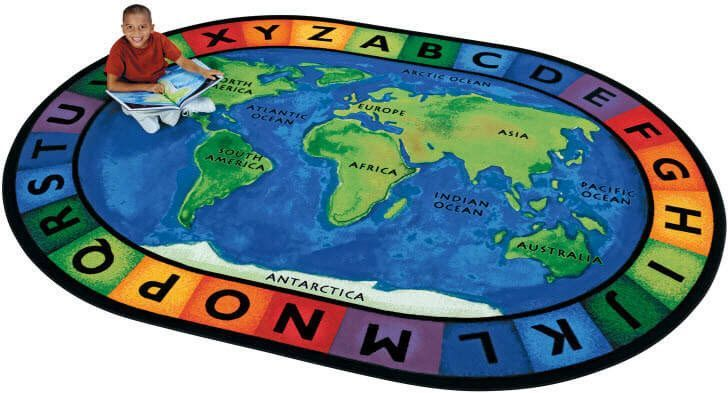 Around the World Oval Classroom Rug. We could use this as reference when learning about different cultures and countries/continents.