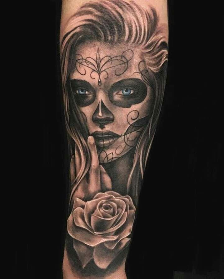 Epingle Par Ivert Alegre Sur Tattoos Tatouage Portrait Tatouage Avant Bras Tatouage Santa Muerte