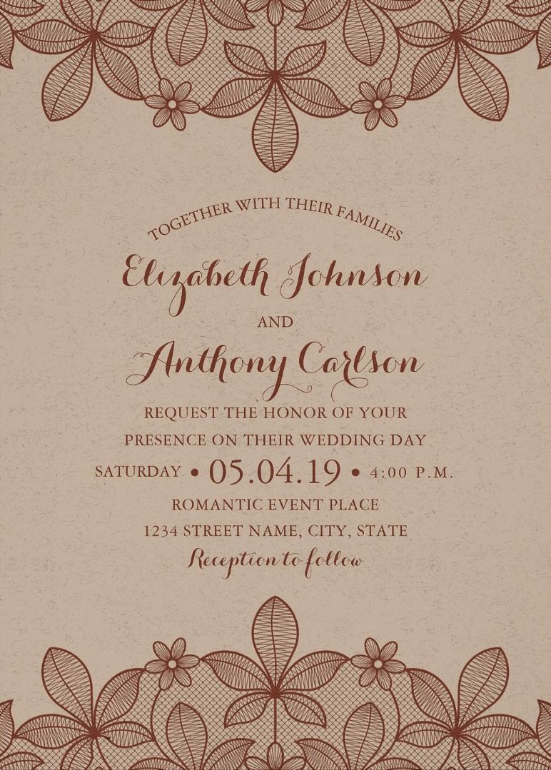 Rustic Craft Paper Wedding Invitations - Vintage Country Lace Cards ...