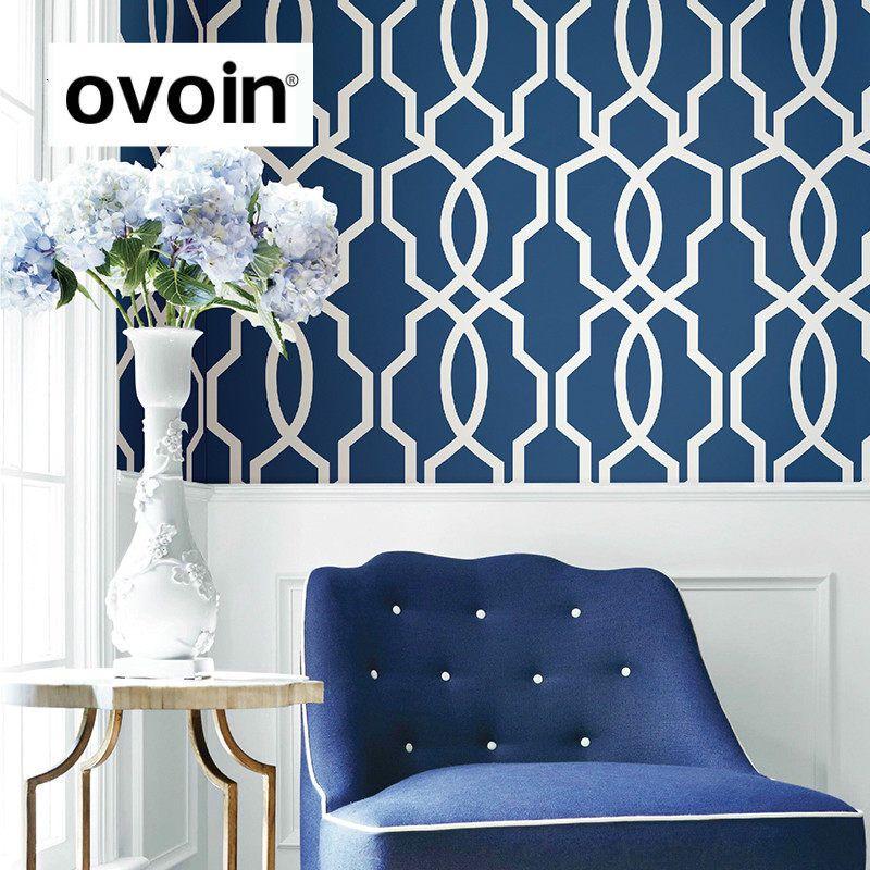 Grey,Navy Blue Geometric Wallpaper Modern Gray Wall Papers
