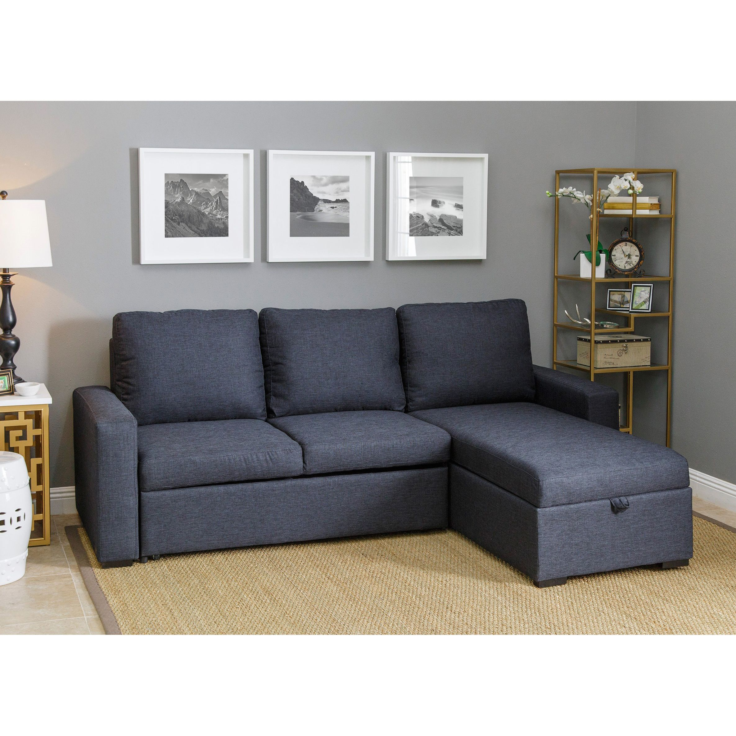 Best Abbyson Newport Upholstered Sofa Storage Sectional Grey 640 x 480