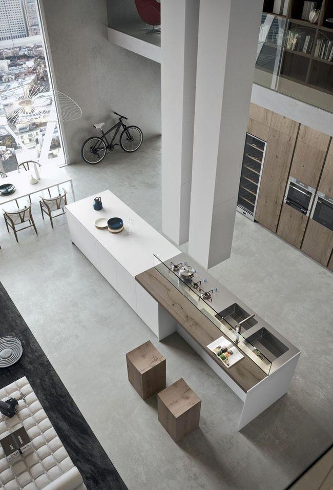 Cuisine moderne avec grand ilot central dans un loft Lofts - Cuisine Moderne Avec Ilot