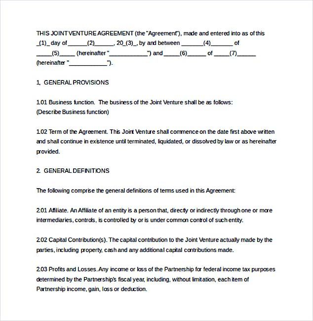 Joint Venture agreement Document_002 , Joint Venture Agreement - joint partnership agreement template