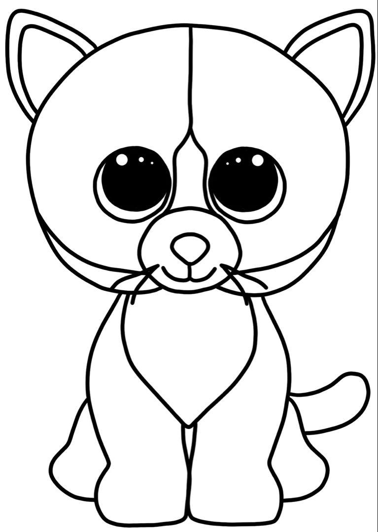TY Cat coloring pages   Cat coloring page, Art activities ...