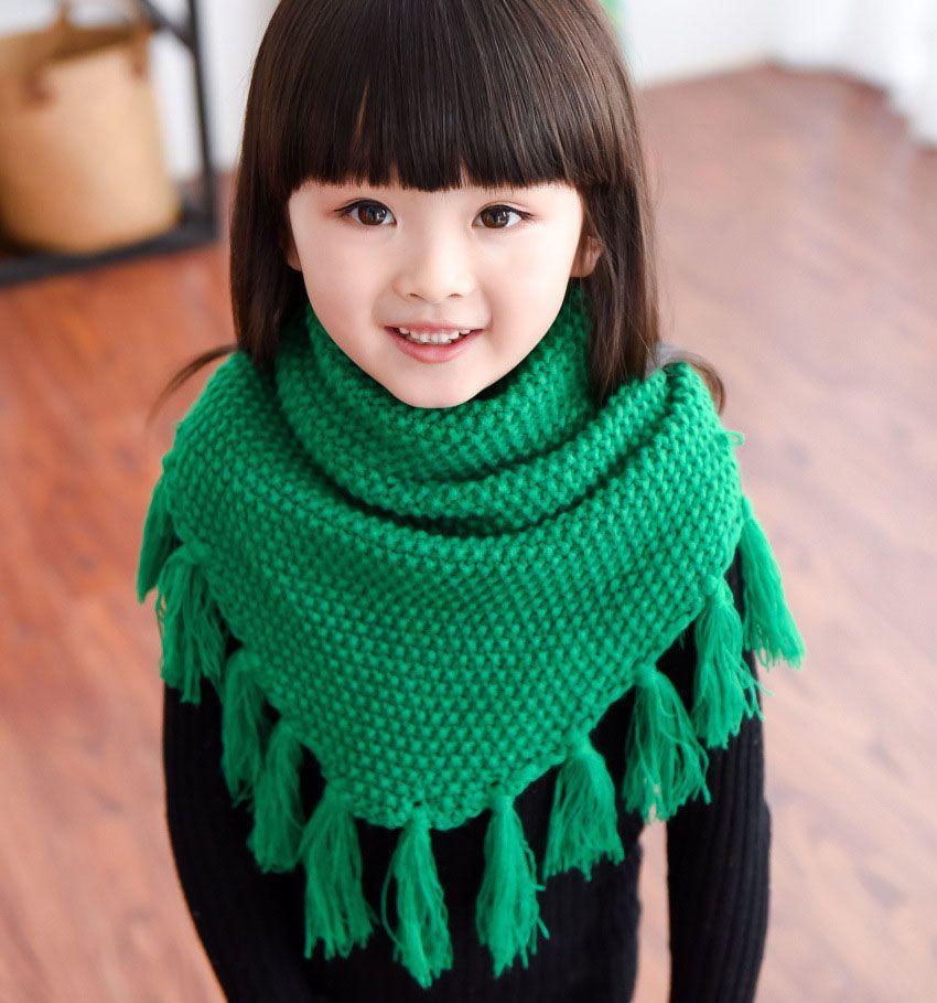 Girl's tassel scarf | Kids scarf, Knitted scarf, Warm scarf