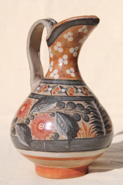 vintage Mexican pottery pitcher, Tonala style hand painted burnished