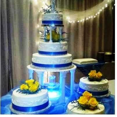 Blue And Yellow With Fountain In 2019 Wedding Cakes