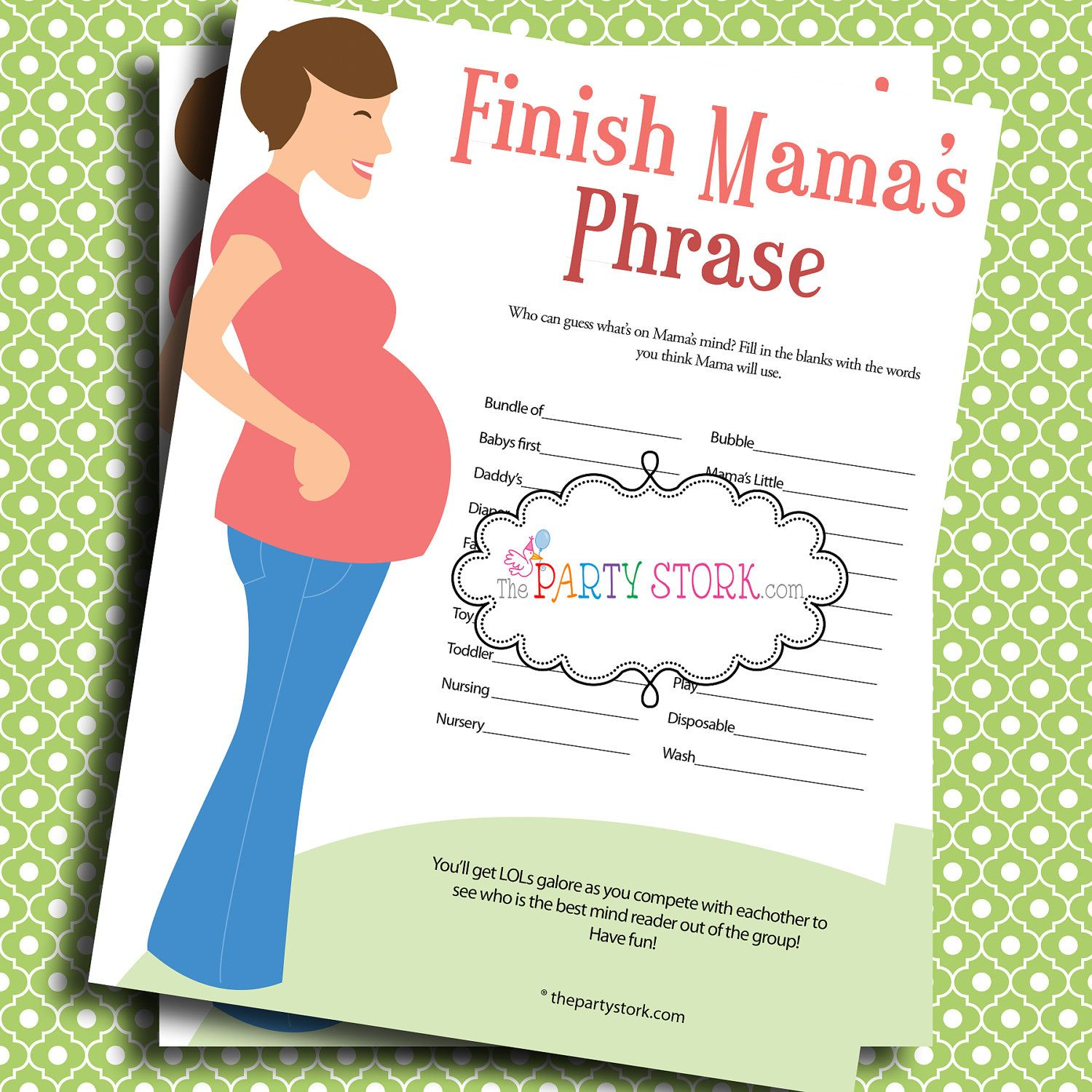 Awesome Baby Shower Games, Finish Mamau0027s (Mommyu0027s) Phrase, PRINTABLE, Many Unique  Game