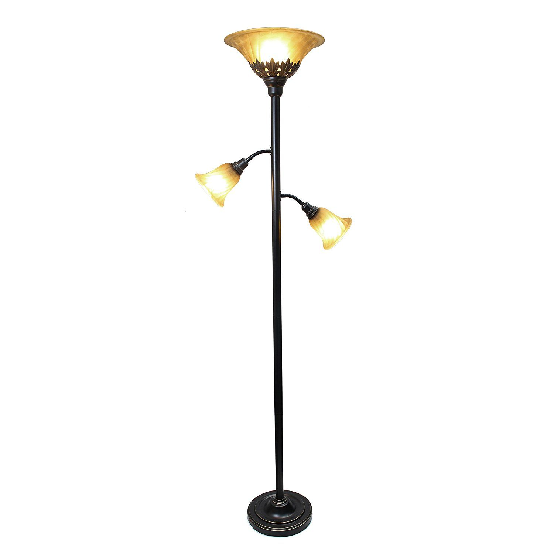 Elegant Designs Lf2002 Rbz 3 Light Floor Lamp With Scalloped Glass