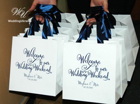 25 Navy Blue Ribbon Handles Wedding Welcome Bags Custom