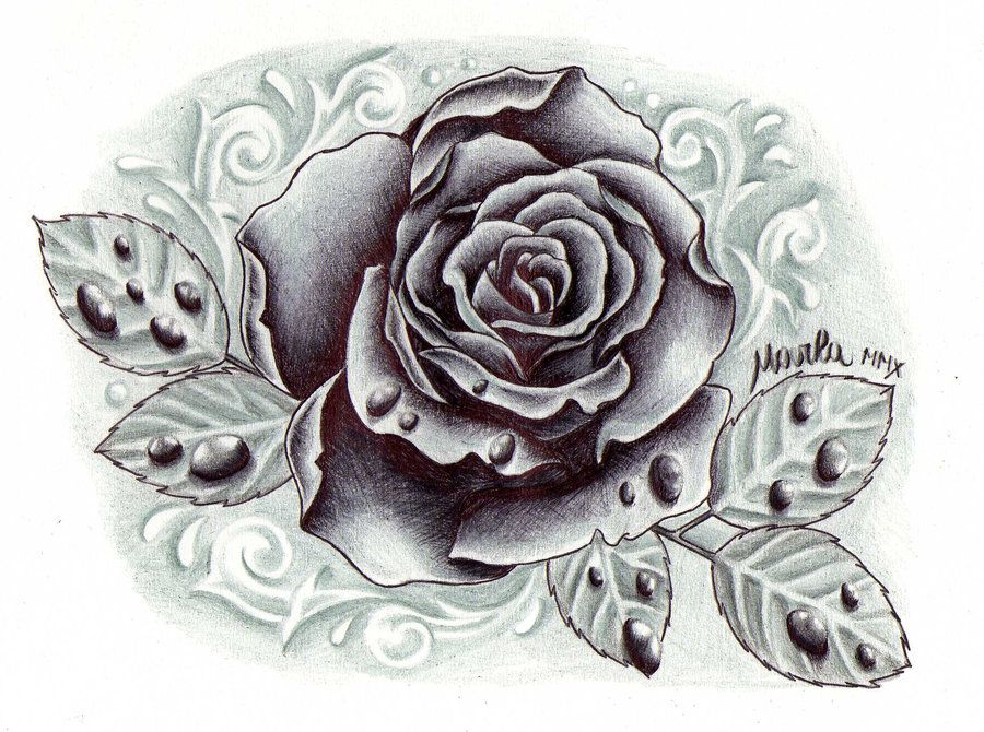 Black And Grey Rose With Drops By Zeromarla On Deviantart Black And Grey Rose Tattoo Black And Grey Rose Rose Tattoo Design