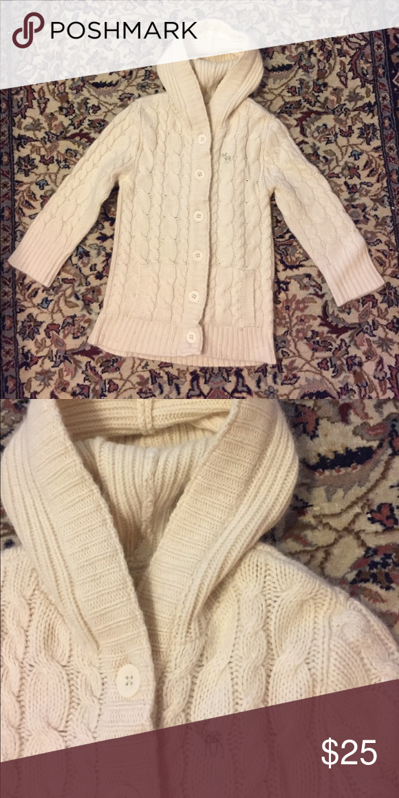 Wool Blend Cream Cable Knit Hooded Sweater | Hooded sweater, Cable ...
