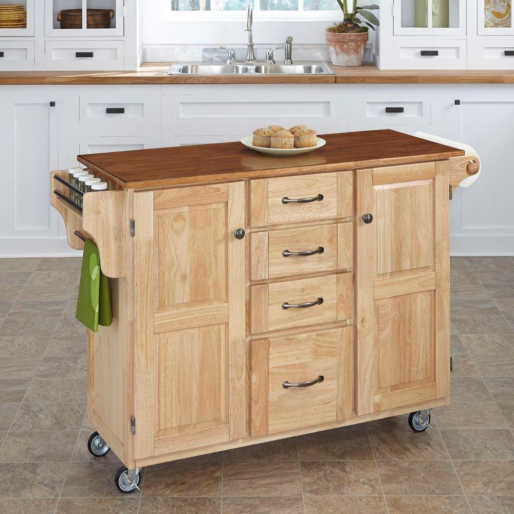 Create A Cart Natural Kitchen Cart With Towel Bar Natural Brown