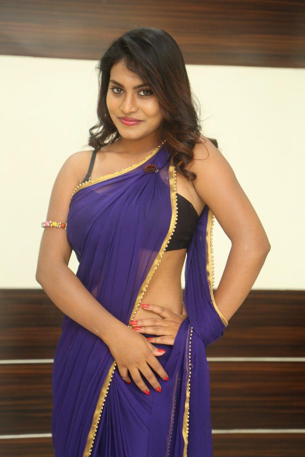 Priyanka Augustin Sexy Image In Blue Saree  2018  Blue Saree, Saree -2249
