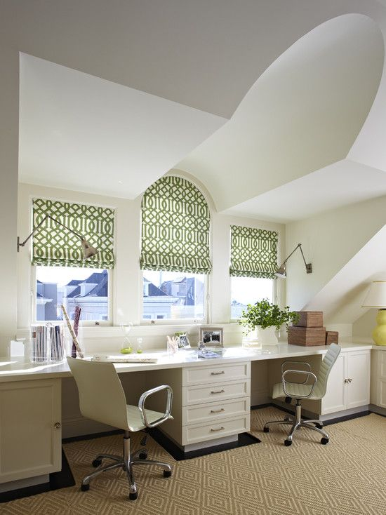 Superbe One Of My Favorite Shared Office Spaces | Custom Carpet Cutout | Trellis  Roman Shades | Arched Window | Task Lighting Off The Desk