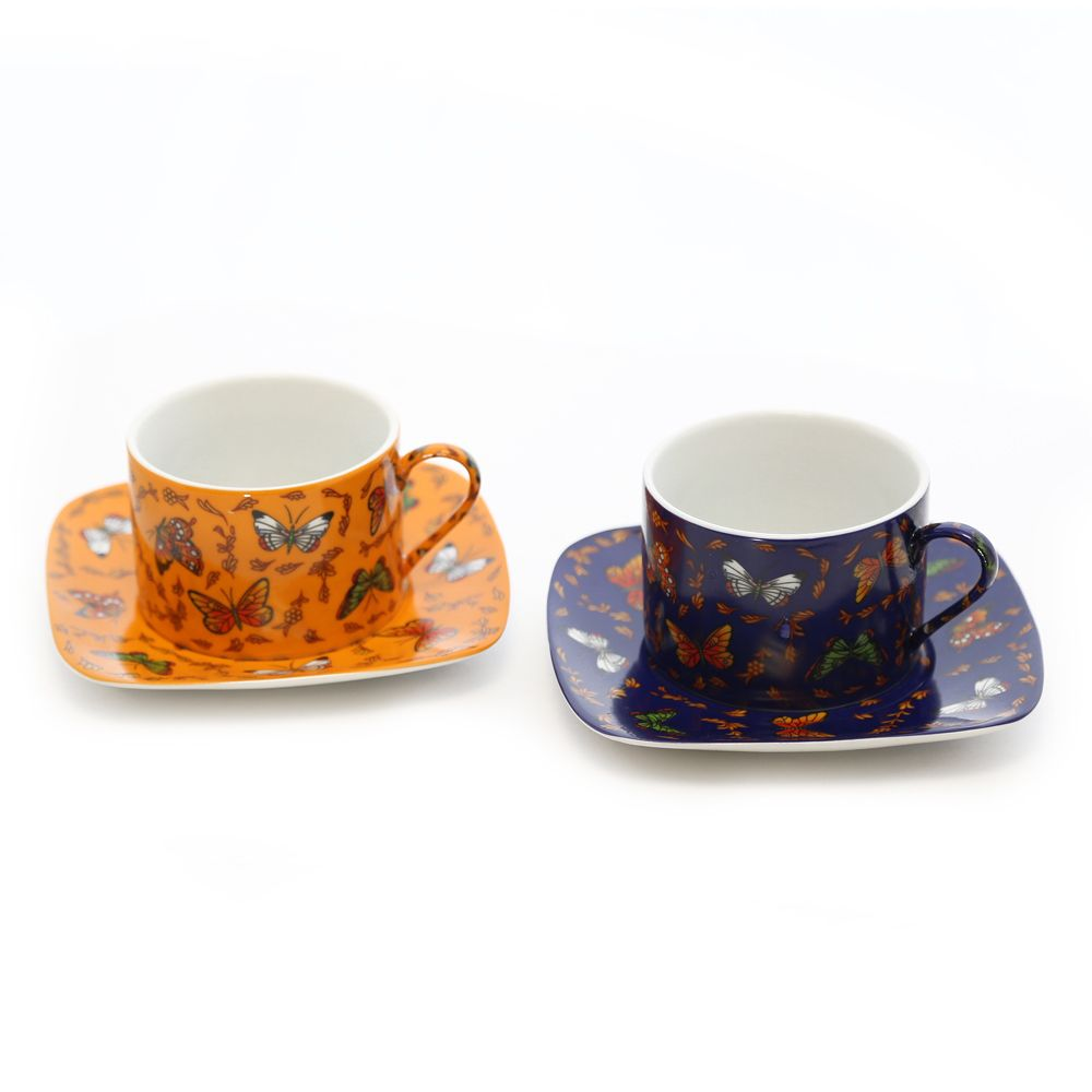 Interior Place - Orange and Navy Butterflies Cobalt Porcelain Coffee Cup and Saucer (Gift Set of 6), 61.22 CAD (http://www.interiorplace.com/orange-and-navy-butterflies-cobalt-porcelain-coffee-cup-and-saucer-gift-set-of-6/)