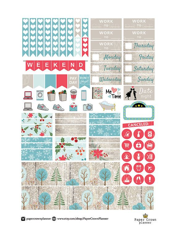 HELLO WINTER Weekly Sticker Kit/Printable Planner Stickers/Planner Stickers for use w/Erin Condren Life Planner/Sticker Set/Winter Stickers