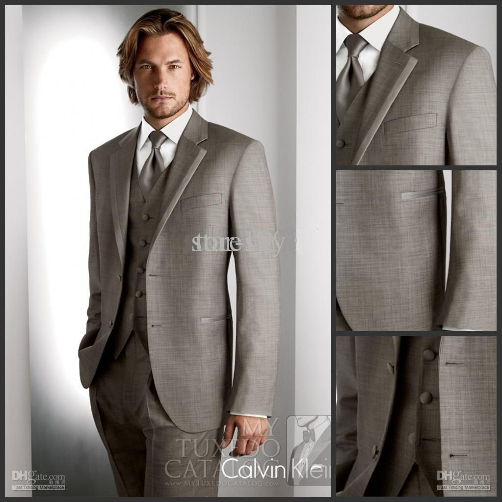 Custom made light gray groom tuxedos groomsmen menus wedding suits