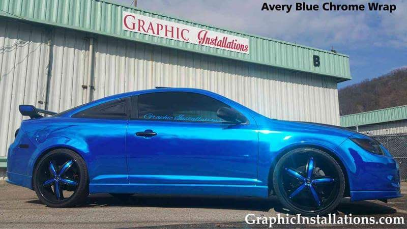 This Chrome Cobalt Looks Slick In Avery Dennison Blue Chrome Install By Graphic Installations Graphicinstallations Com Car Wrap Bmw Car Car