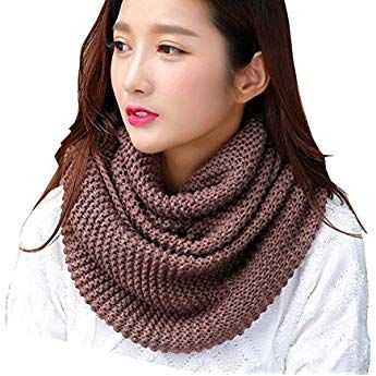 04ade5bf9f3c Winfon Snood Femme Tricot hiver Tricotée Écharpe Tube Écharpe Tubulaire Écharpe  Cercle (Brun