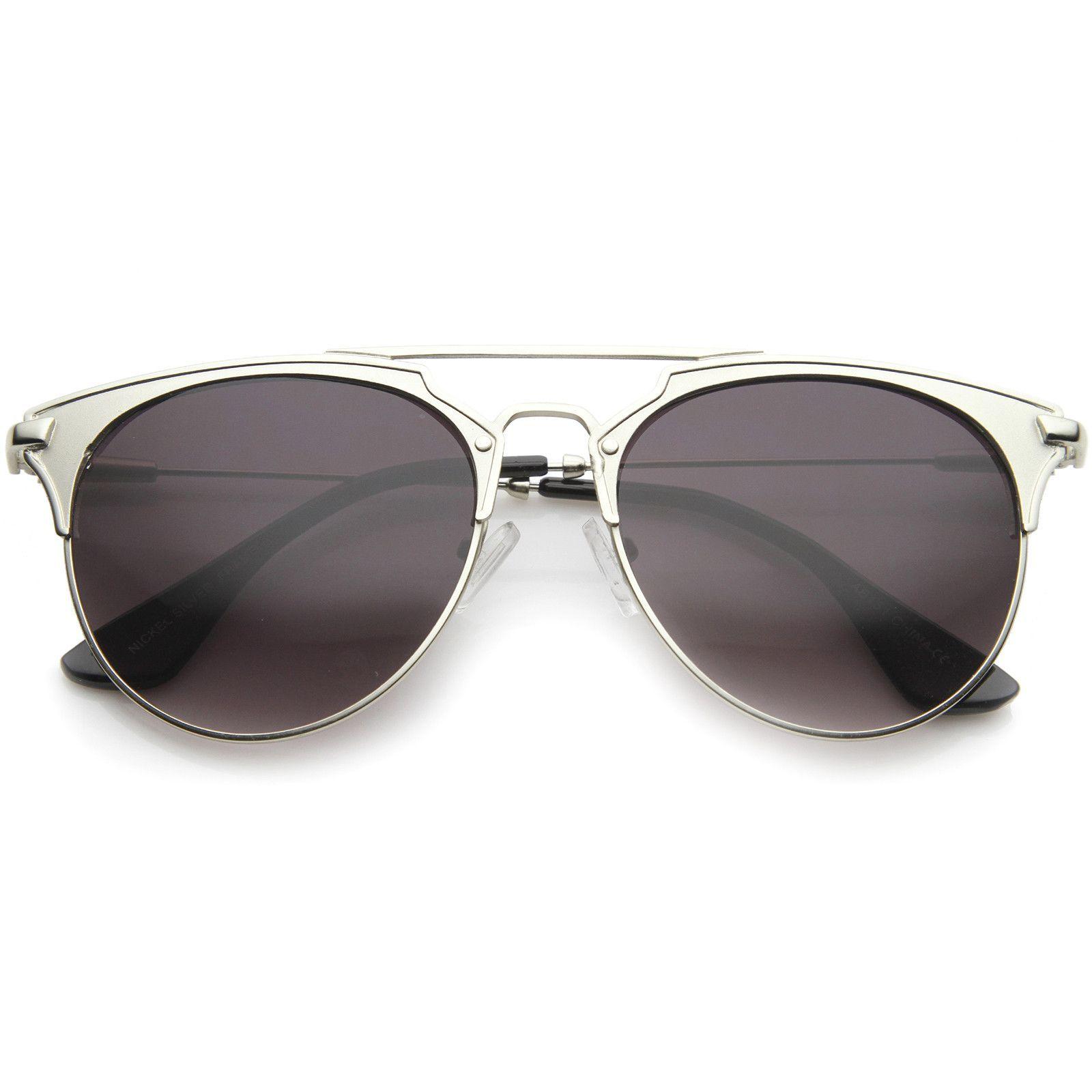 Modern Fashion Full Metallic Double Bridge Pantos Shape Aviator Sunglasses 56mm
