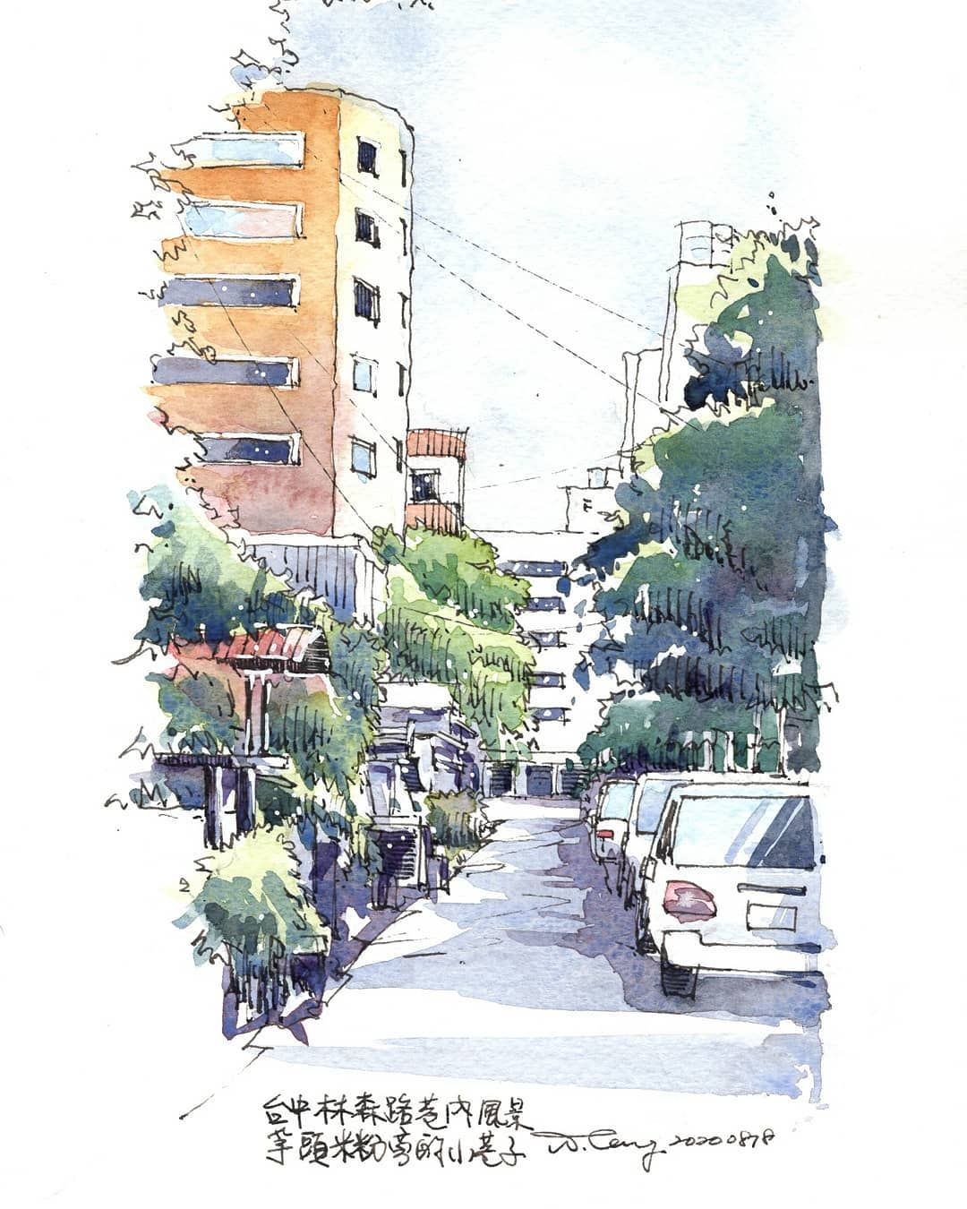 "Wade Tang 阿德 on Instagram: ""(214/365)20200828. Walk in a small alley in Taichung. . #365project #urbansketching #urbansketchers #architecturesketch #archisketch…"""