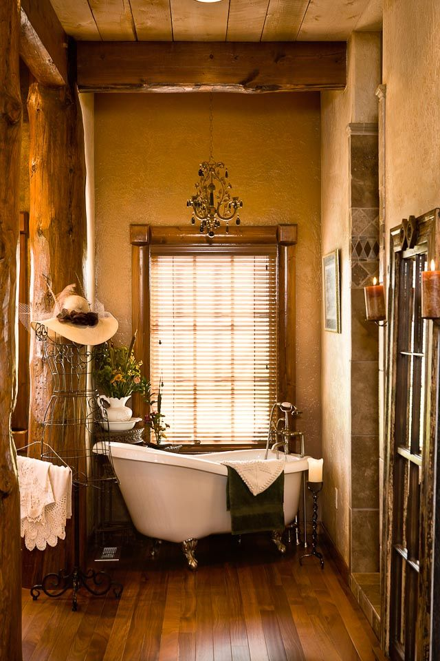 western home western bathroom with log accents For the Home
