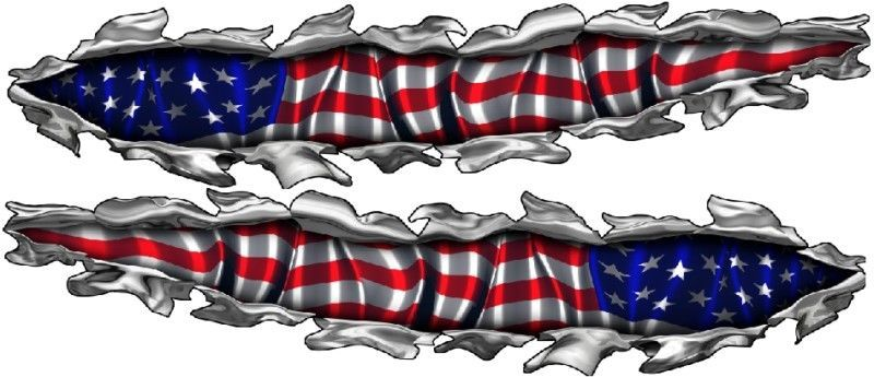 Boat Car Truck Trailer Motorcycle Graphics Decals Stickers Wrap Eagle Flag set