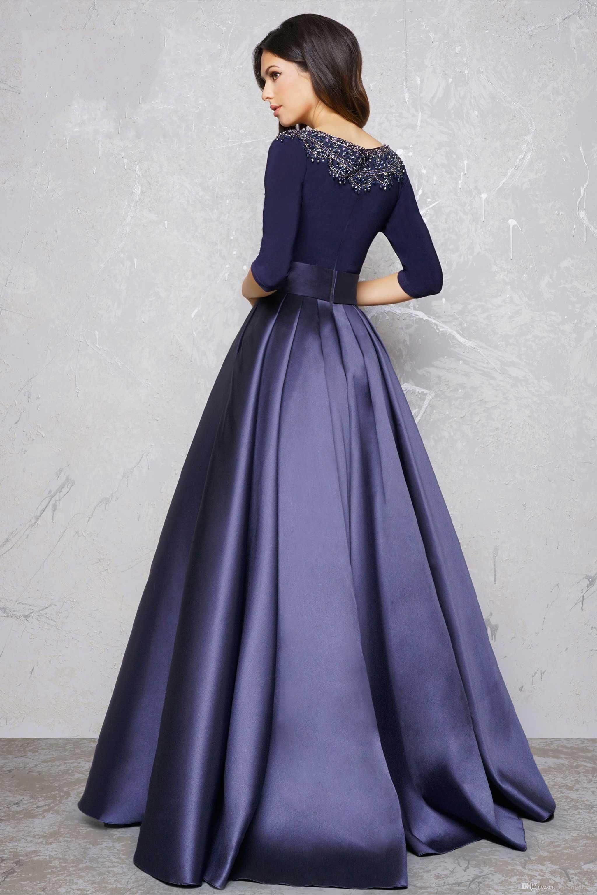 Long sleeve evening gowns formal dress a line party dress high