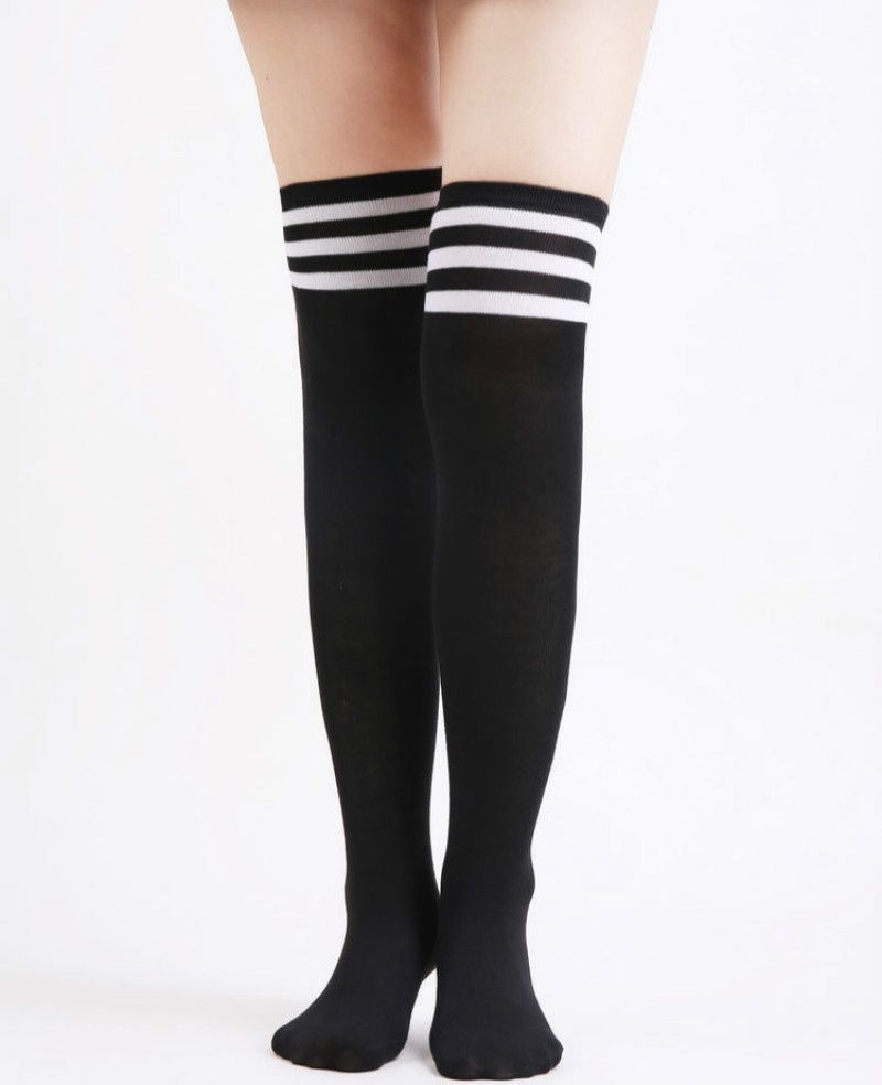 dde6425d5 Lovely Black Striped Long Sock Women s Stockings Over The Knee Socks Thigh  High Thick Girls Princess Knee High Long Socks