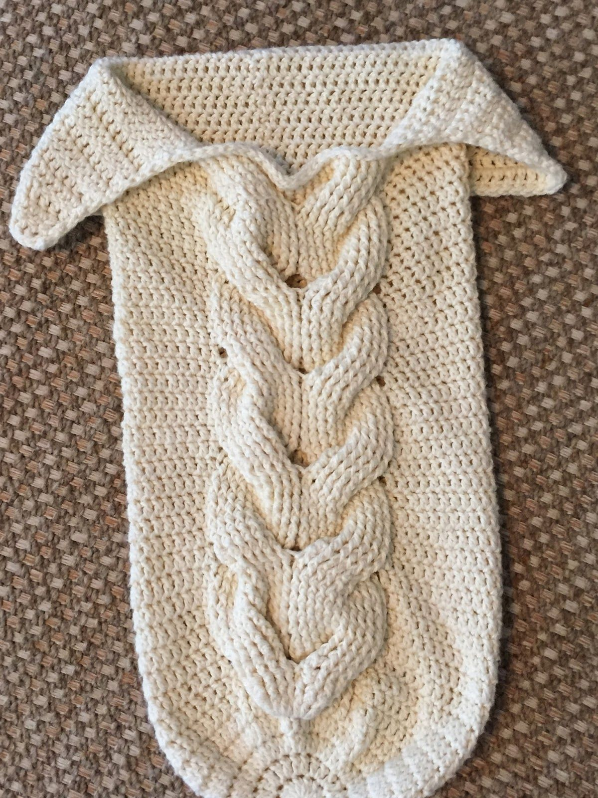 Skein and Hook: Free Crochet Pattern: Cabled Baby Cocoon #crochetbabycocoon