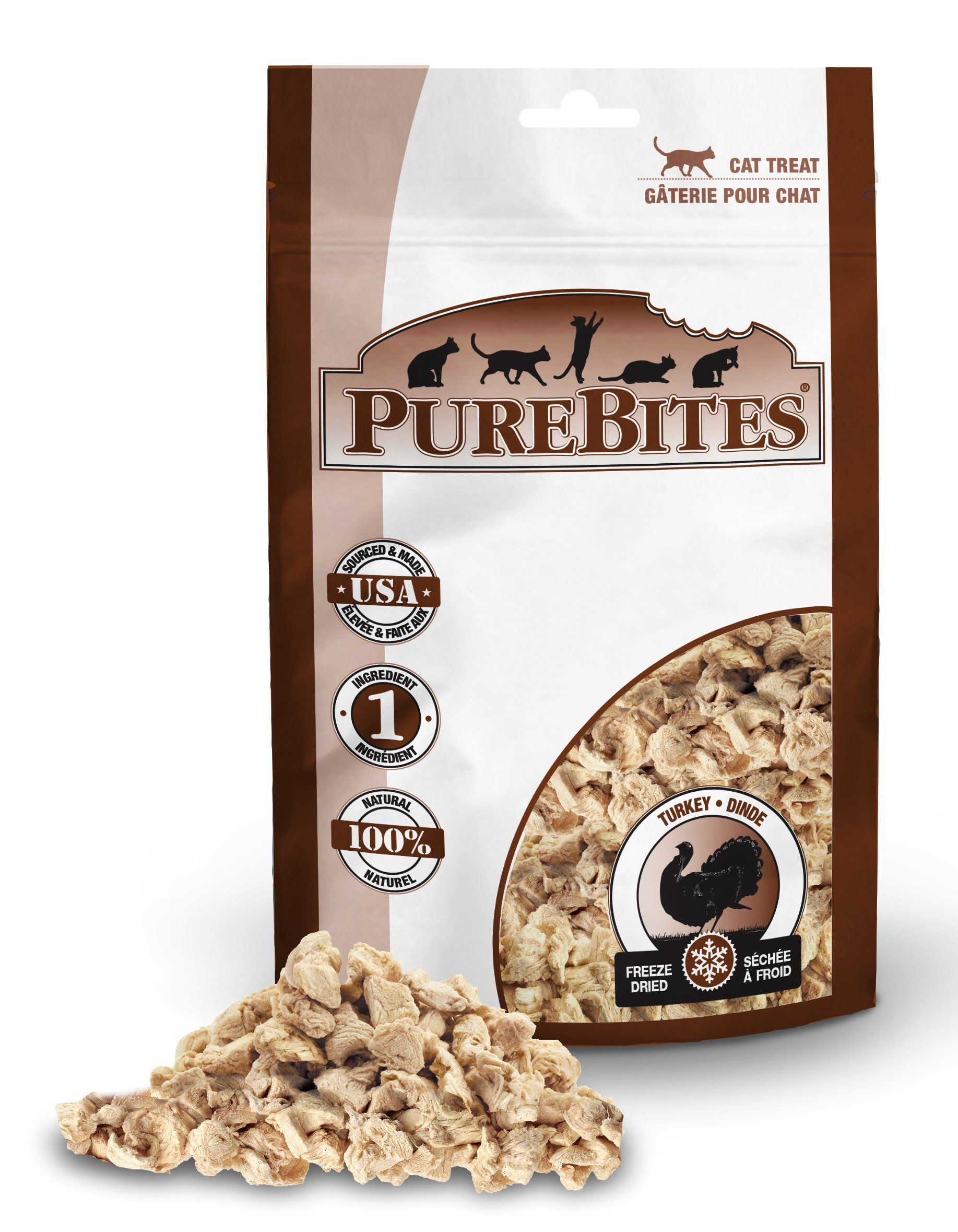 Purebites turkey for cats 092oz 26g value size look