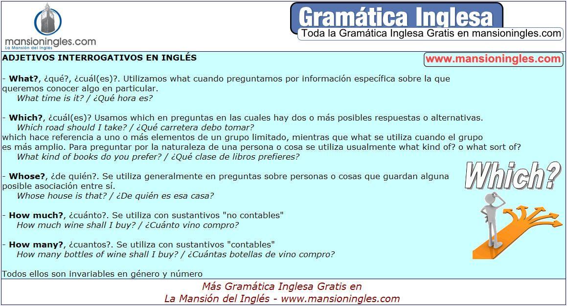Gramática Inglesa Adjetivos Interrogativos En Inglés Gramática Inglesa Gramática Ingles