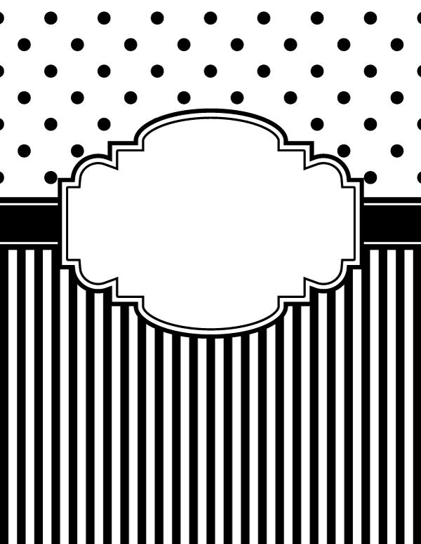 Black And White Chevron Binder Cover : Free printable black and white polka dot stripe binder