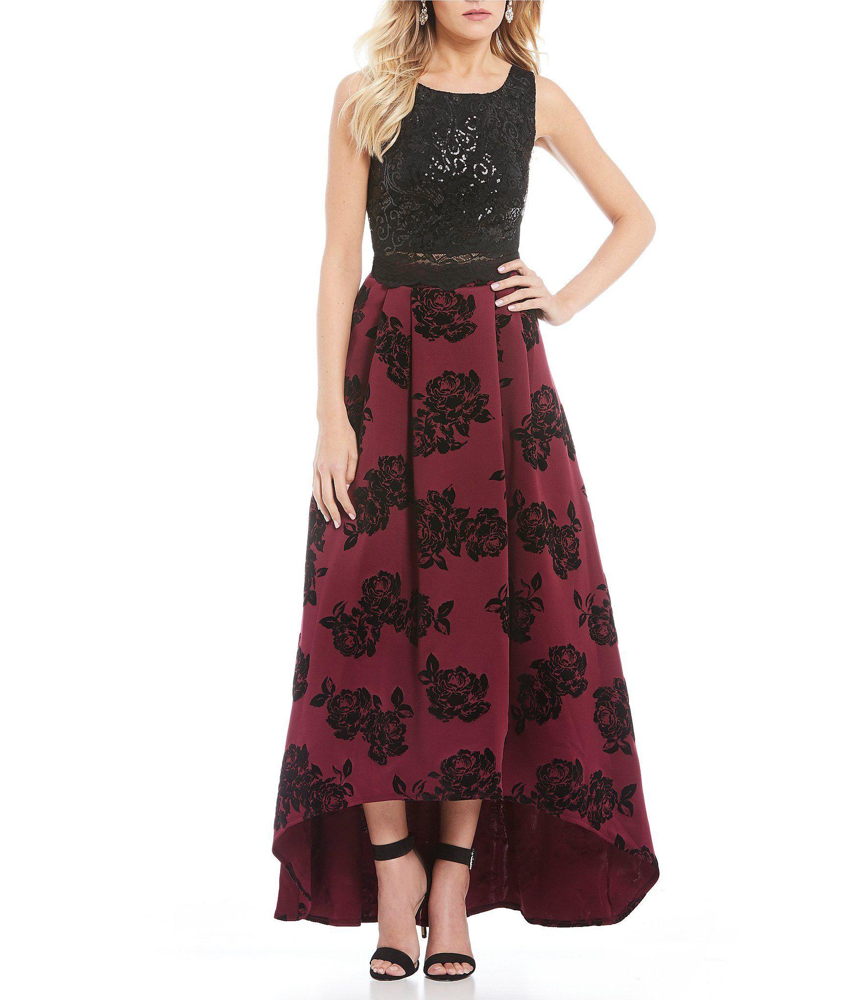 385a92e5730 Jodi Kristopher Floral Flocked Skirt TwoPiece HighLow Dress  Dillards