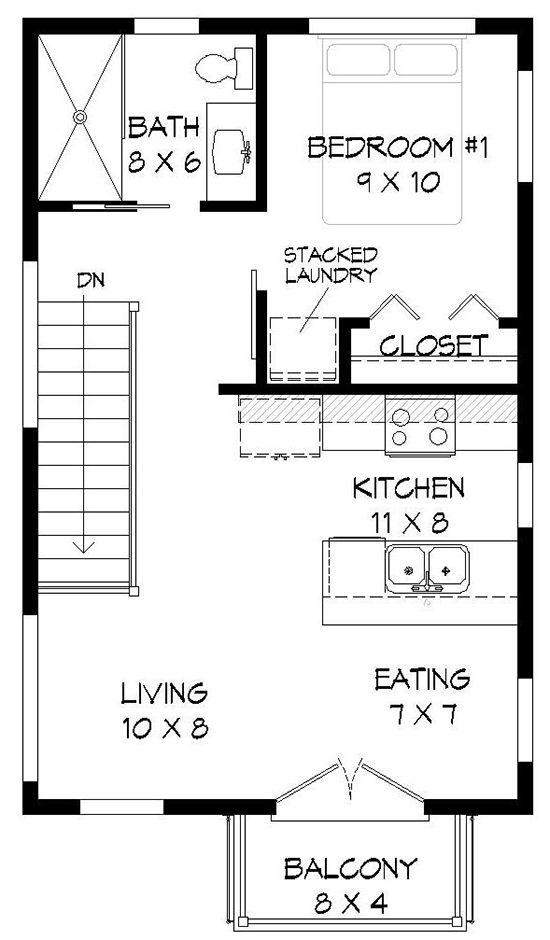 House Plan 94000042 Modern Plan 572 Square Feet, 1