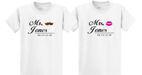 5ce8f7cf69 Cute Couples Tee shirt set Mr. & Mrs with Your Custom Name and Date