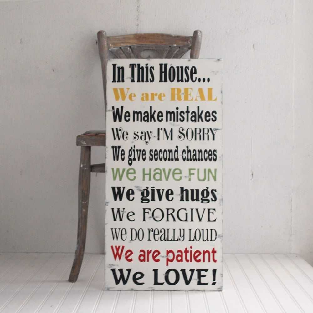 In This House We Do..Family Rules Wood Sign We Are Real We